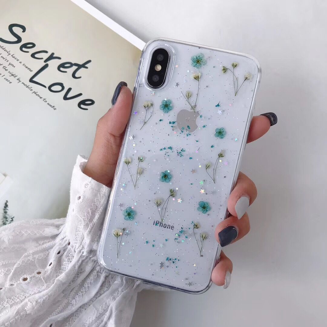 Real Dry Flower Glitter Clear Case For iPhone 8 Plus XR 11 Pro XS MAX - Actual Phone Case