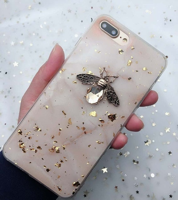Gold Foil Bling Marble Cases For iPhone X XS XR 11 Pro Max 3D Bee Soft - Cheap Phone Case
