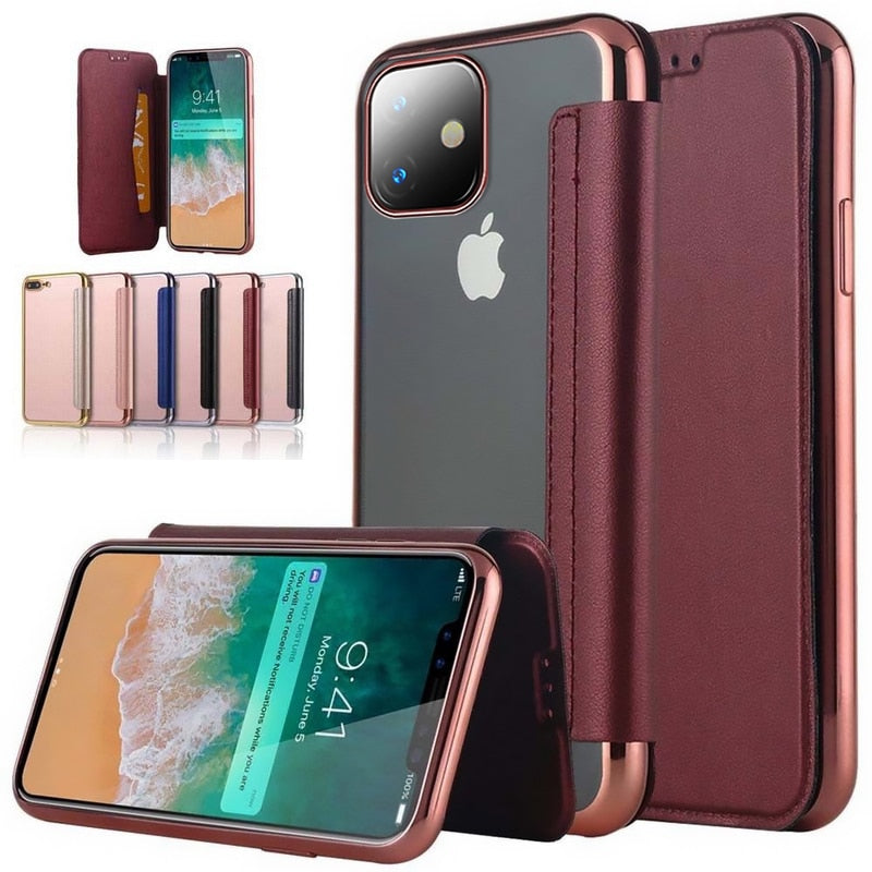 Fashion Slim Book Flip Case For iPhone X 10 XR XS Max 7 8 8 Plus 11 Pro - Actual Phone Case