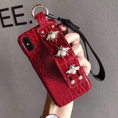 For iPhone 8 plus X XS MAX XR 11 Pro MAX Luxury Rhinestone Bee Wide Wrist - Actual Phone Case