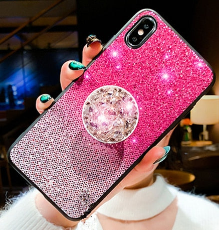 Pink Gradient glitter fur ball Cover for iphone 11 Pro Max 6 8 plus - Cheap Phone Case