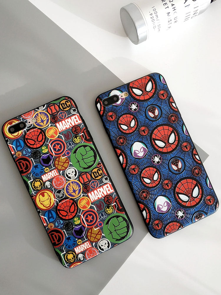 Cool Marvel spiderman phone case for iphone XR XS MAX X 7 8 - Actual Phone Case