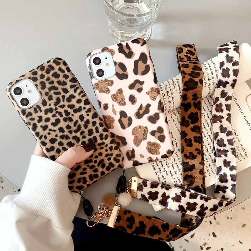 For iphone 11 Pro Max X XR XS MAX 7 8 Plus Luxury Leopard Print Back Cover - Actual Phone Case