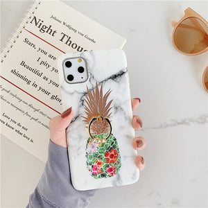 Ring Stand Pineapple Marble Case For iphone 11 Pro Max 7 8 Plus XR X XS - Cheap Phone Case