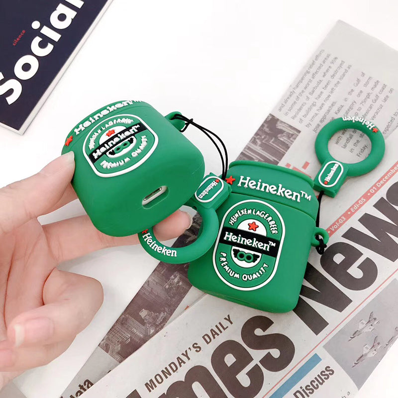 Hot Green Leisure Beer Ring Soft Silicone Cover for Apple AirPods 1 2 - Actual Phone Case