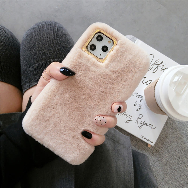 Plush Furry Fur Phone Case For iPhone 11 Pro X XS XR Max 7 8 Plus - Cheap Phone Case