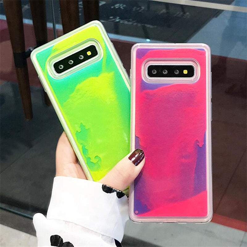 Luminous Neon Sand Cover For Samsung Galaxy S8 S9 S10 Plus Note 10 8 9 - Actual Phone Case