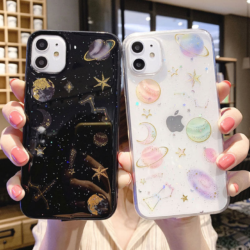 Planet phone Cases For iphone 11 X XR XS Max 7 8 Plus Soft Silicon Star Back Cover - Actual Phone Case
