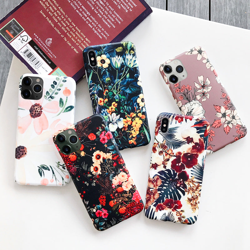 Luxury Printing Leaves Case Cover For iPhone XS Max XR X Soft Flower - Cheap Phone Case