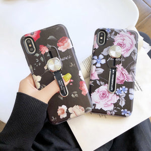 Luxury Flower Hide Stand Case For iPhone 7 8 Plus XR Silicone Holder - Cheap Phone Case