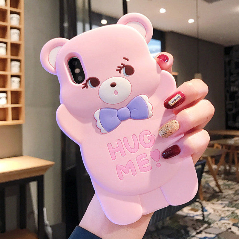 3D Cartoon Pink Bear Cases For iPhone 11 Pro Max 8 Plus XS Max X XR - Cheap Phone Case