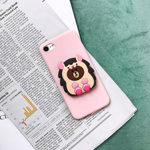 Cow Dinosaur Bear Ring Stand Grip Case For iPhone 6 7 8 Plus Xs XR MAX - Cheap Phone Case