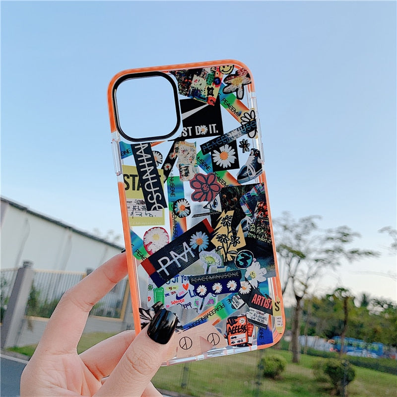 Fragment flower label Case for iPhone 11 pro X XS MAX XR 8 7 6 6s Plus - Cheap Phone Case