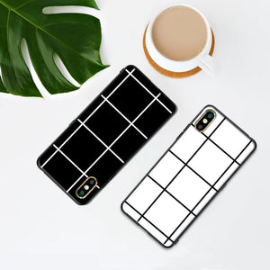 Case For iphone 11 Pro X XS Max XR 8 Plus Black White Grid Checkerboard - Cheap Phone Case