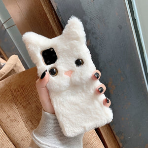 Plush Short Hair Cat For Iphone case 8 Plus X XR XS 11 Pro Max Hand case - Actual Phone Case