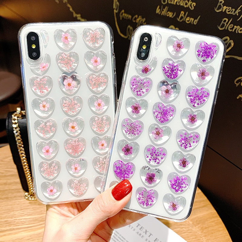 3D Love Heart Dried Flower Case For iPhone X XS Max XR 7 8 Plus - Actual Phone Case