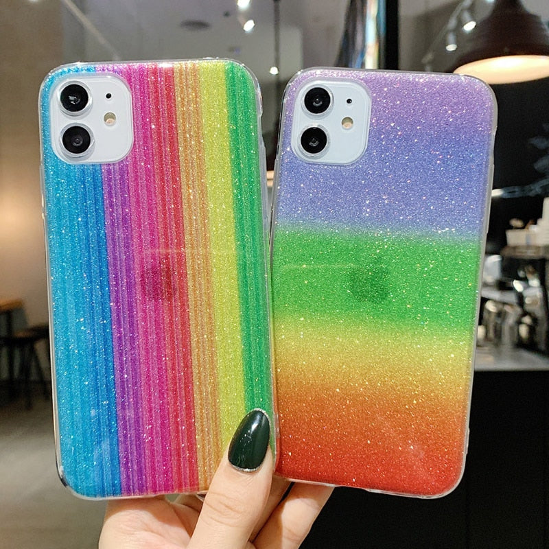 Case For iPhone 11 Pro Max X XR Xs Max 8 Plus Hard PC Colorful Shining - Actual Phone Case