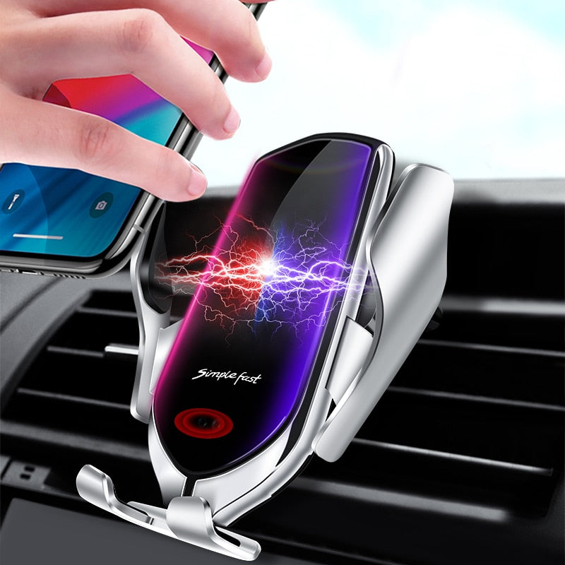 Wireless Car Qi Charger for iPhone X Xs XR Samsung Auto Clamping - Actual Phone Case