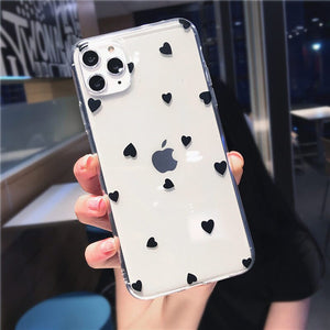 Love heart Clear Silicone Case For iPhone 11 11 Pro X XR XS Max 8 Plus - Actual Phone Case