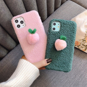 New spring Lamb Cashmere Peach TPU Case For iPhone 11 Pro Max X XS Max - Actual Phone Case