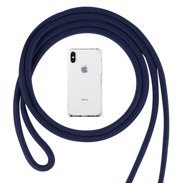 Strap Cord Chain Phone Cover for iPhone 8 11 pro XS Max XR X Necklace - Actual Phone Case