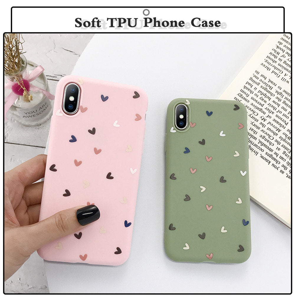 Silicone Love Heart Phone Case For iPhone 11 Pro X XR XS Max 8  Plus - Actual Phone Case