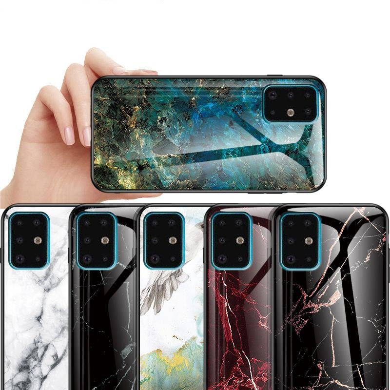 Marble Tempered Glass Case for Samsung S20 Ultra S10 Note 10 9 Plus - Actual Phone Case
