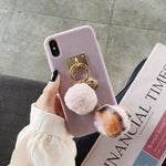 Luxury 3D fox fur keychain soft case for samsung S8 S9 S10 Note cover - Actual Phone Case