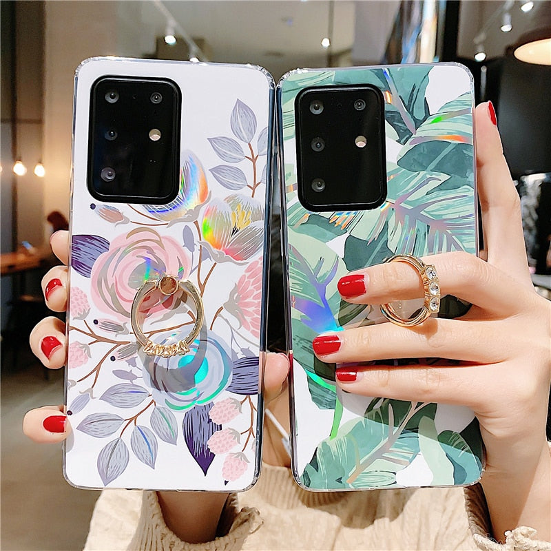 Case Luxury Raser Flower Cover for Samsung S20 Ultra S9 S10+ Note 10 9 - Actual Phone Case