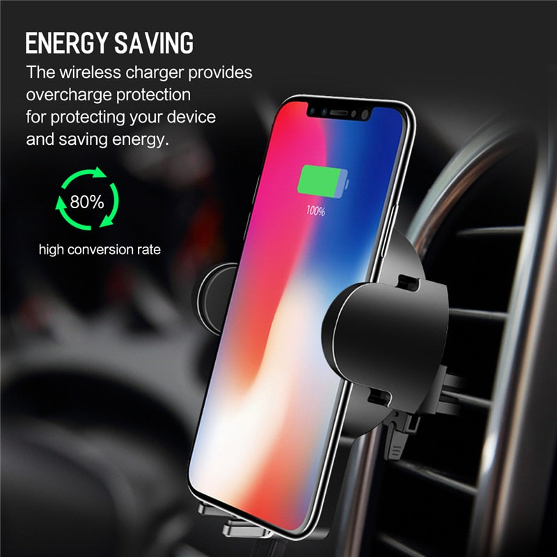 Car Wireless Charger Holder for iPhone Samsung Galaxy - Actual Phone Case