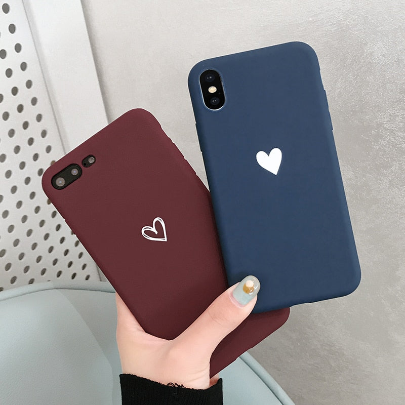 iphone X XR XS XS Max love heart TPU case For iphone 6 6s 7 8 plus - Cheap Phone Case