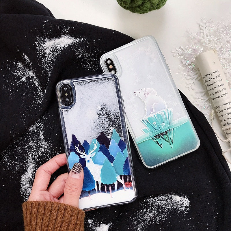 Cartoon elk Quicksand Cover Case For Samsung Galaxy S8 S9 Plus Note 8 9 - Cheap Phone Case