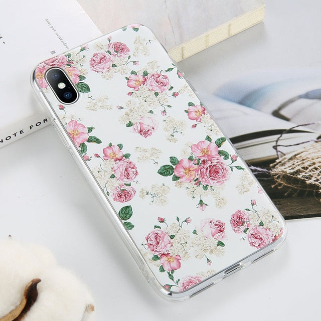 Flower Case For iPhone X XR XS Max Cases for iphone 7 8 Plus - Actual Phone Case