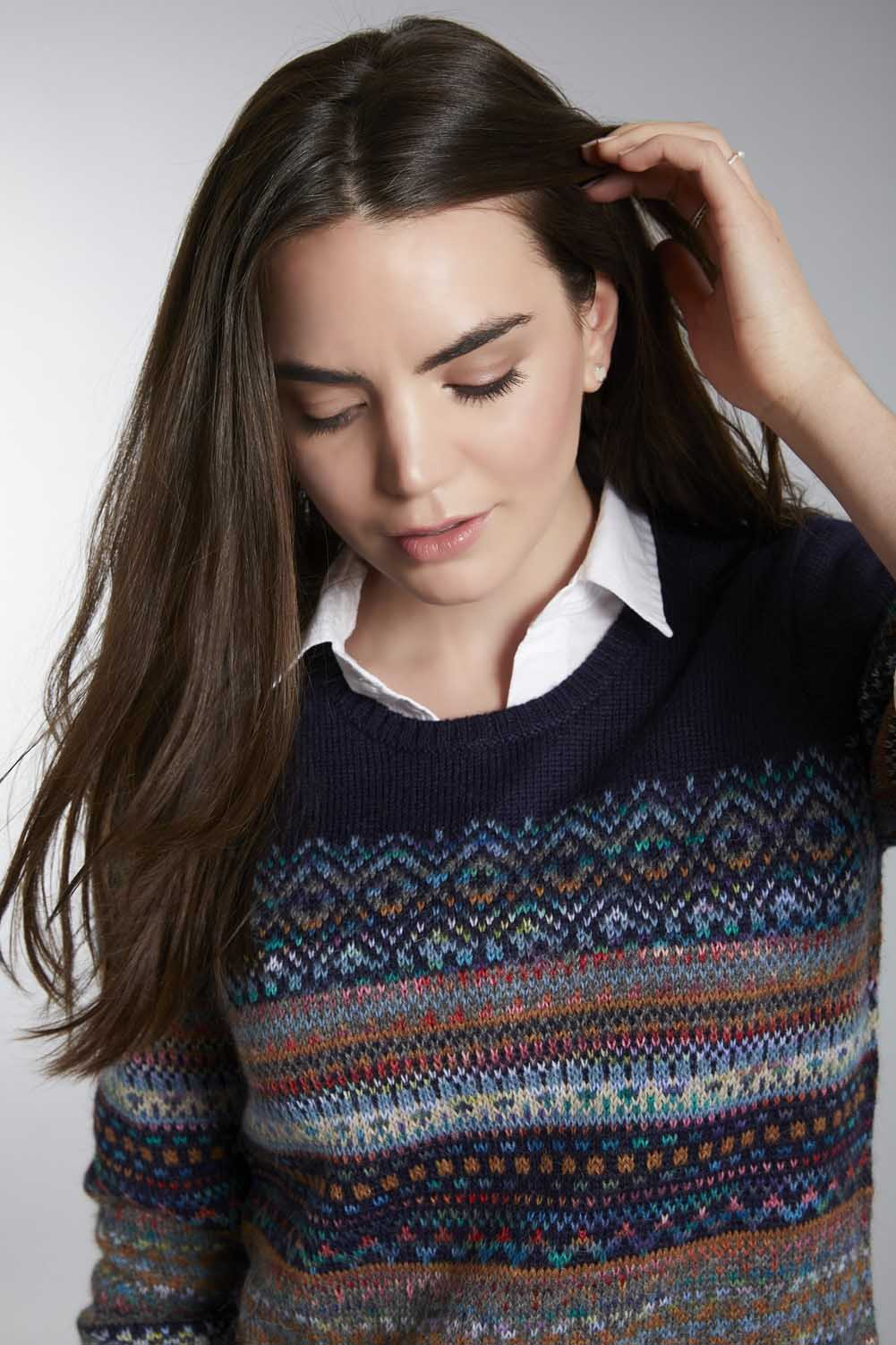 Invisible World Women's Pullover Abancay Hand-Dyed Alpaca Fair Isle Jumper for Women