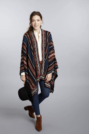 Invisible World Alpaca Poncho or Ruana Ahuayo 100% Alpaca Wool Poncho Ruana for Women