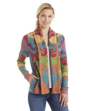 Invisible World Women's Cardigan Ainu Shawl-Collar Pima Cotton & Alpaca Cardigan Knit Jacket for Women