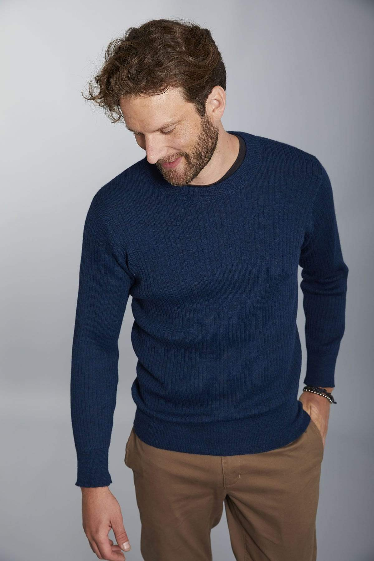 Invisible World Men's Pullover Blue / Small Apollo Ribbed Men's Alpaca Jumper