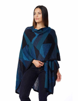Invisible World Alpaca Poncho or Ruana Aymara Alpaca Wool Poncho for Women-  Ruana with Pima Cotton