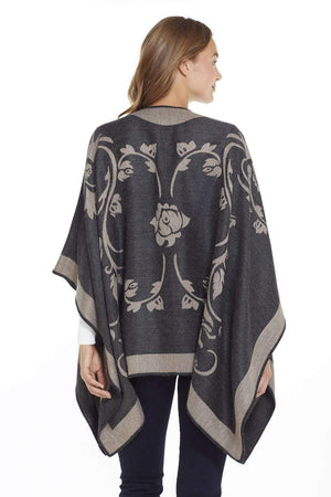 Manos del Peru Alpaca Poncho or Ruana Belle Epoque Reversible Baby Alpaca Wool Poncho Ruana for Women
