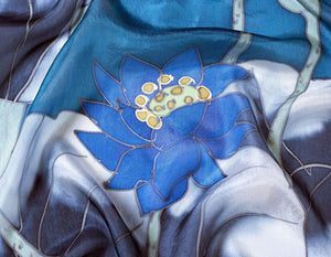 Invisible World Silk Scarves Hand Painted Silk Paj Neck Scarf - Blue Lotus