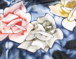 Hand Painted Silk Paj Neck Scarf - Blue Roses