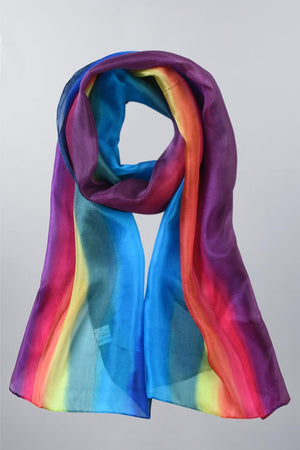 Invisible World Silk Scarves Hand Painted Silk Paj Neck Scarf - Horizon