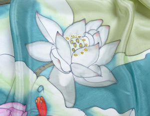 Invisible World Silk Scarves Hand Painted Silk Paj Neck Scarf - Lotus Dragonfly