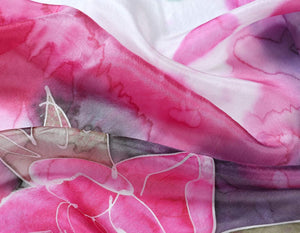 Hand Painted Silk Paj Neck Scarf - Spring Bouquet