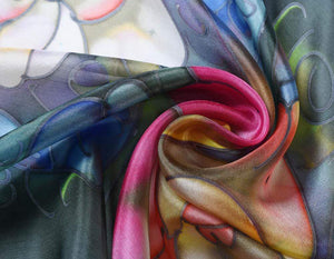 Invisible World Silk Scarves Hand Painted Silk Paj Neck Scarf - Suzy