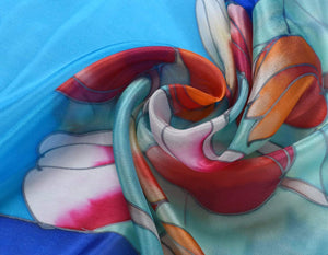 Invisible World Silk Scarves Hand Painted Silk Paj Neck Scarf - Tulips