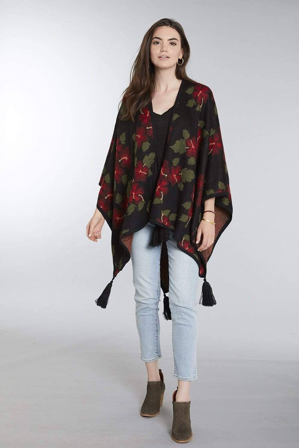 Invisible World Hibiscus Baby Alpaca Poncho - Women's Ruana Wrap