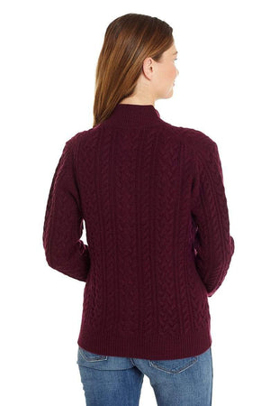 Invisible World Women's Cardigan Katy Women's Three-Ply Cable Knit Pure Cashmere Cardigan