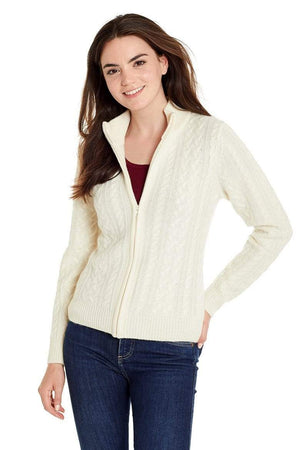 Invisible World Women's Cardigan Ivory / X-Small Katy Women's Three-Ply Cable Knit Pure Cashmere Cardigan