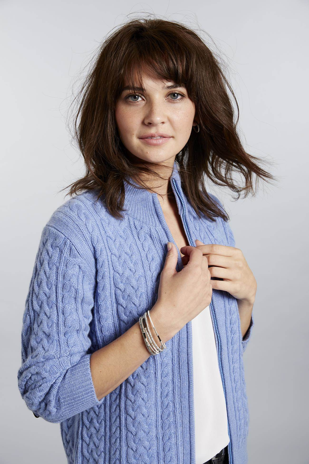 Invisible World Women's Cardigan Light Blue Heather / X-Small Katy Women's Three-Ply Cable Knit Pure Cashmere Cardigan